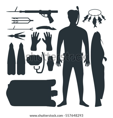 Spearfishing silhouette vector set.