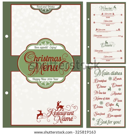 Special Christmas festive menu design. Vector illustration.
