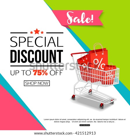 Super sale banner design shop online stock vector for Buy cheap posters online
