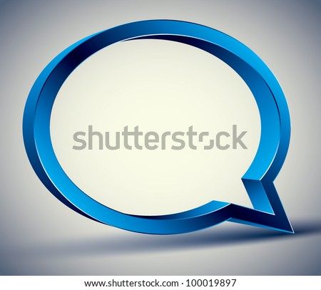Speech bubble 3d modern style, vector design element.