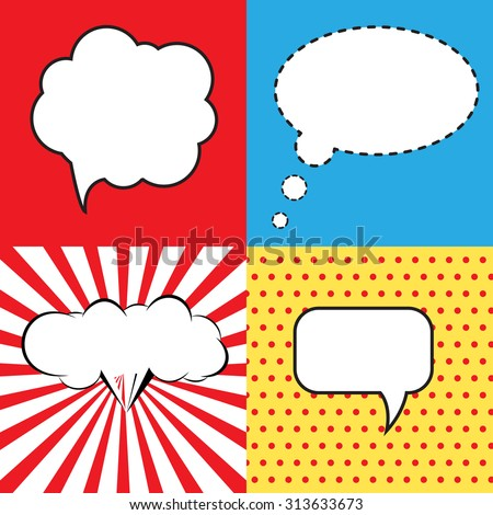 Speech Bubble in Pop-Art Style. lichtenstein pop art. Speech Bubbles in Pop-Art Style. Pop art comics background with space for comments. andy warhol pop art