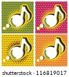 Speech Bubble Music Note in Pop-Art Style - stock vector