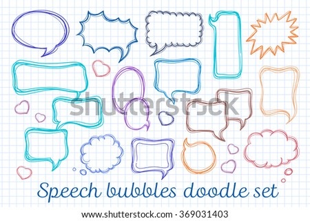 Speech bubbles vector doodle set in check background