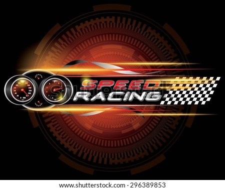 Speed racing with speedometer concept vector