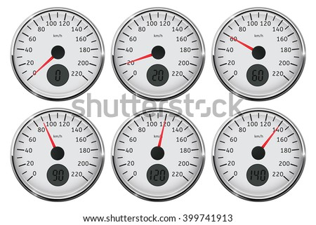 Speedometer. Set of different speed indication. Vector illustration on white background