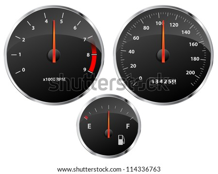 Speedometer, tachometer and fuel gauge set with chrome bezel
