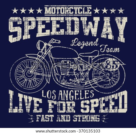 Speedway motorcycle los angeles vector print stock vector for Motor speedway los angeles