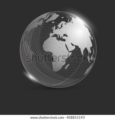 Sphere with world map on a black background with highlights. Globe. Earth. The glow of the planet earth. Banner. vector illustrations