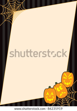 Spiderweb frame with carved Jack O' Lantern pumpkins designed as a background for Halloween.
