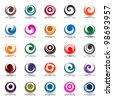 Spiral movement and rotation in circle shape. Design elements set. Vector art. - stock vector