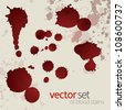 Splattered blood stains, set 6 - stock vector