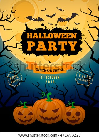 Spooky pumpkins and full moon. Halloween party background design. Eps 10 vector illustration