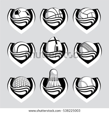 Sport ball emblem vector set in black, gray and white colors on isolated background