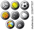 sport ball icons (tennis, american football, soccer, volleyball, basketball, baseball, bowling) - stock vector