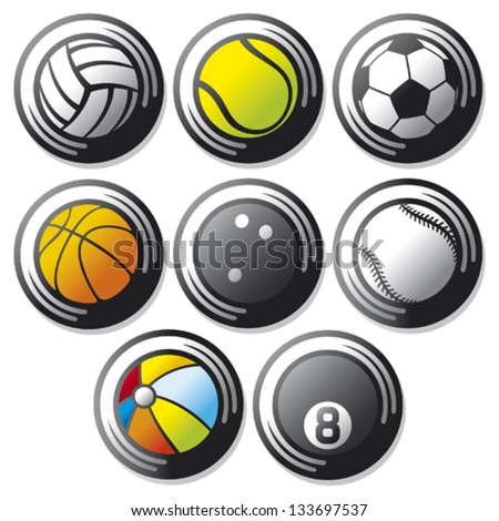 sport ball icons (tennis, american football, soccer, volleyball, basketball, baseball, bowling)