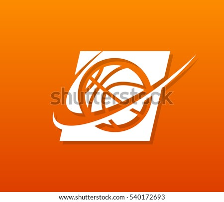 Sport basketball logo icon with swoosh graphic element