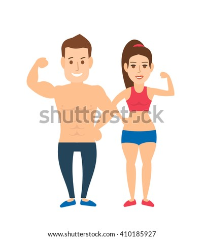 sport couple man and woman showing muscles biceps isolated on white background