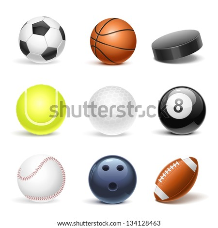sport equipment vector icon set