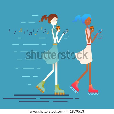 Sport female character skates on roller-skaters with earphones on, drinks ice coffee. Fitness workout running girl, Urban citizen. Hand drawn elements, vector illustration.