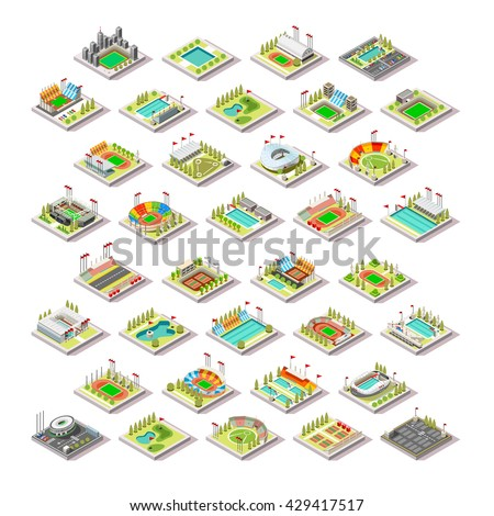 Sport olympics Facility Building Set. 3D Isometric City Map town indoor Sport Park Infographic Building. Stadium Arena Track road Pool Camp block. Game Icon Sport Collection pack Vector Illustration