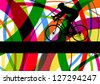 Sport road bike rider bicycle silhouette in colorful abstract line background vector illustration - stock vector
