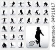 sport silhouettes - stock photo