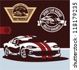 Sports car vector. Sports car club emblem, label and stamp set. - stock vector