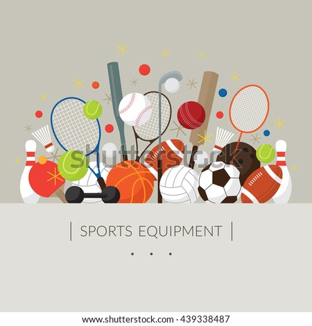 Sports Equipment, Flat Icons Display Label, Objects, Recreation and Leisure