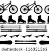 sports Equipment silhouette seamless pattern vector illustration - stock vector