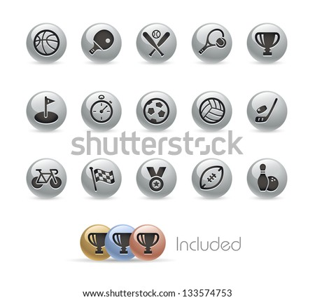 Sports Icons // Metal Round Series --- It includes 4 color versions for each icon in different layers---