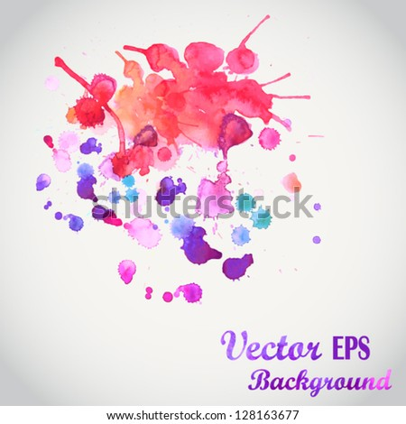 Spray vector paint, watercolor splash background, colorful drops texture