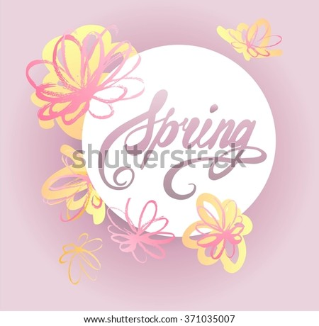 Spring card hand drawn. Vector illustration.