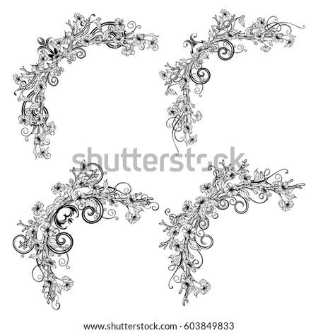 Spring Corner Decorations. Vector Outlined Spring Flowers, Leaves And  Flourishes On Branches. Linear