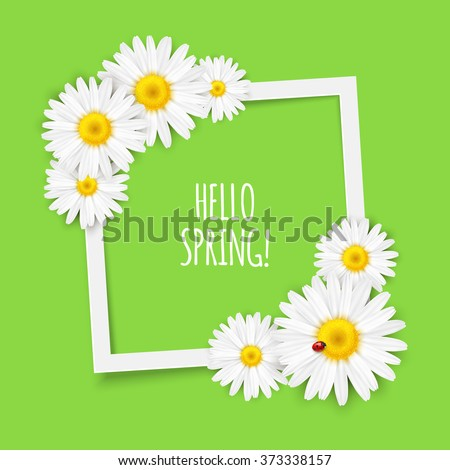 Spring flowers frame composition. Bright spring background design. Vector resizable illustration.