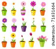 Spring Flowers In Pots, Isolated On White Background, Vector Illustration - stock photo