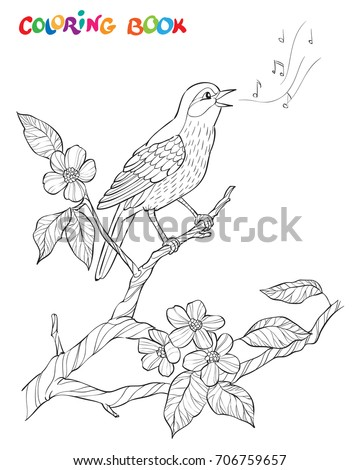 A Bird Sings On Bloom Branch Ornate Decorative Black And
