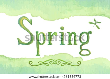 Spring - hand drawn watercolor word lettering, green vector illustration