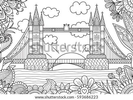 Drawing Zentangle Rhino Coloring Page Shirt Stock Vector