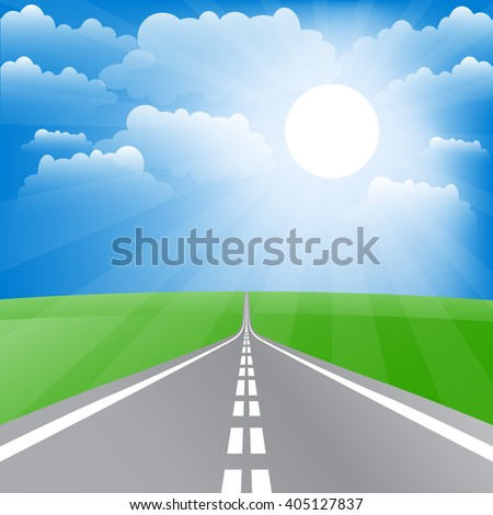 Spring landscape with road and sun. Vector illustration