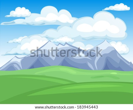 Spring mounains landscape view illustration vector