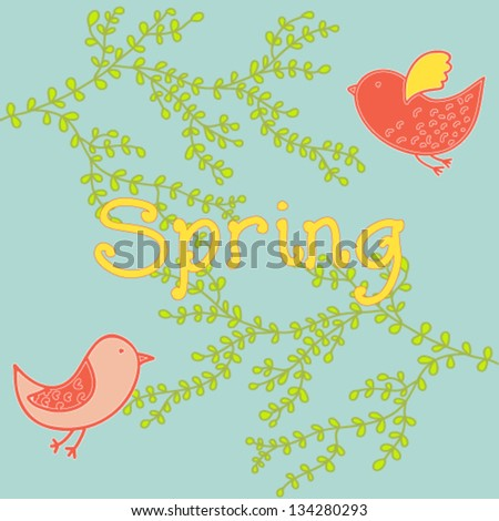 Spring, plants, birds,card. Vector illustration