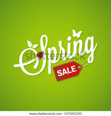 Spring Sale Lettering Design Background.