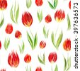 Spring seamless pattern with oil painted red tulip flowers, design elements. Floral pattern for wedding invitations, greeting cards, scrapbooking, print, gift wrap, manufacturing - stock photo