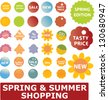 spring & summer shopping stickers, labels, signs set, vector - stock vector