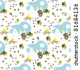 Square Bear seamless pattern - stock vector