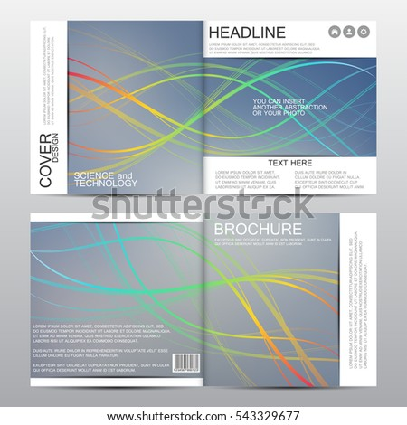 Square brochure template with waved lines. Geometric abstract background. Vector graphics.