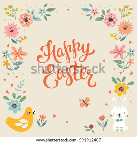 Vector Happy Easter Templates Eggs Flowers Stock Vector 601082210