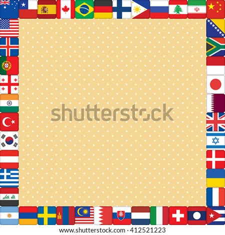 square orange polka dot background with flags frame