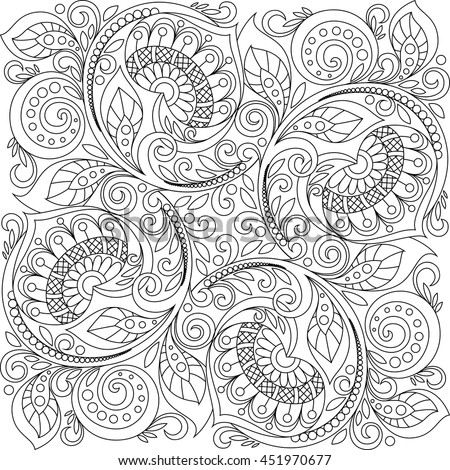 Square ornament background with hearts. Floral decorative pattern in zentangle style. Adult antistress coloring page. Black and white hand drawn doodle for coloring book