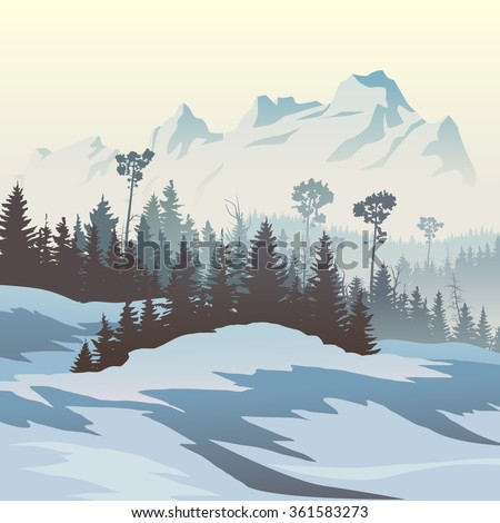 Square vector illustration of snowy coniferous forest valley with mountains.